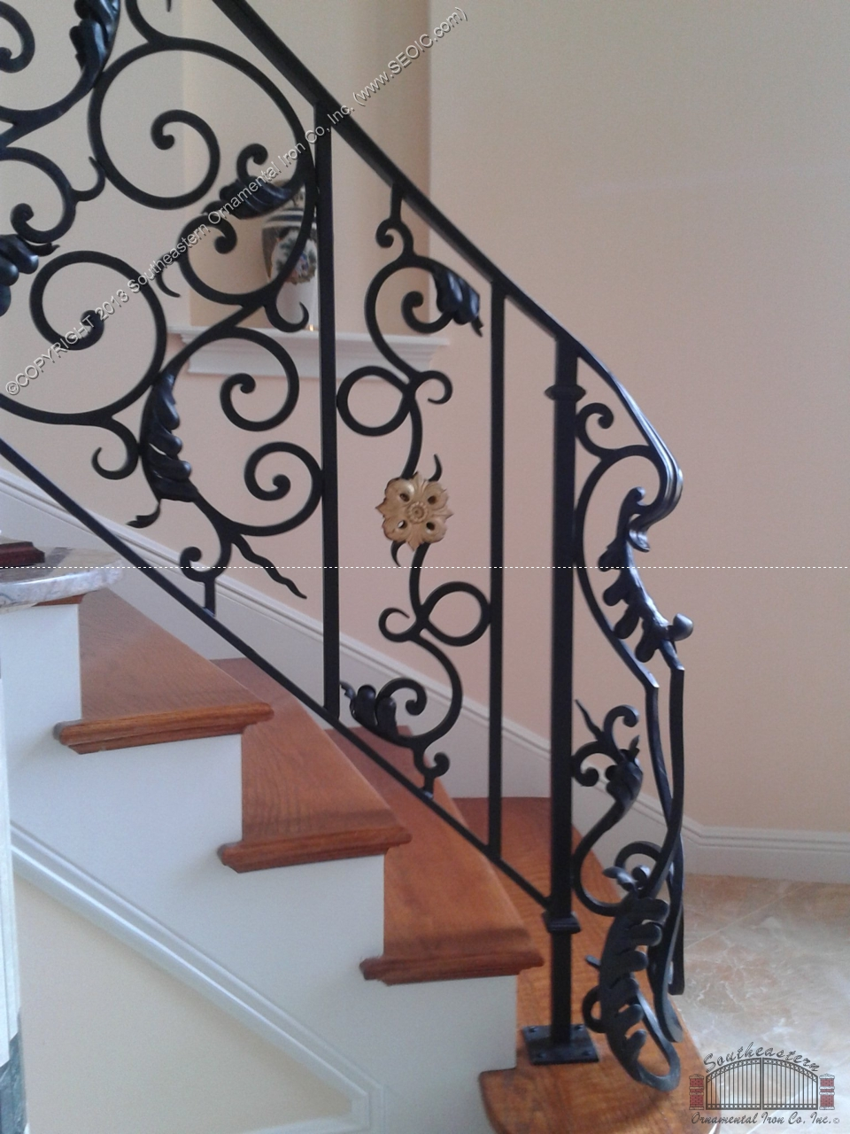 Marvelous Custom Winding Wrought Iron Stair Railing With Black Finish And Gold  Painted Rosettes. All Of Our Products Are Built And Installed Locally As  Well As Built ...