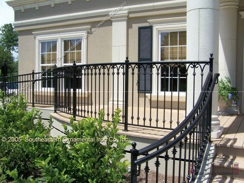 Porch and step railing southeastern ornamental iron works Decorative railings