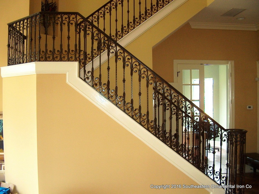 Wrought iron stair railing southeastern ornamental
