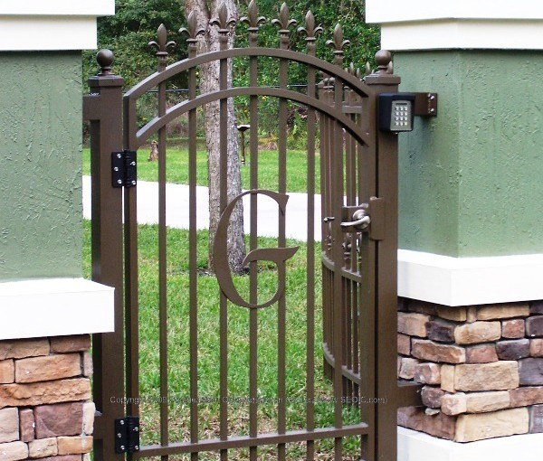 All of our custom walk gates are built to fit very application. We will take any design you may like and provide a to scale drawing so you can see what the final production of your gate will look like. Our Metal Gates, Wrought Iron Gates, are used in many applications such as: Courtyard Gates, Garden Gates, Pool Gates, Security Gates, etc..
