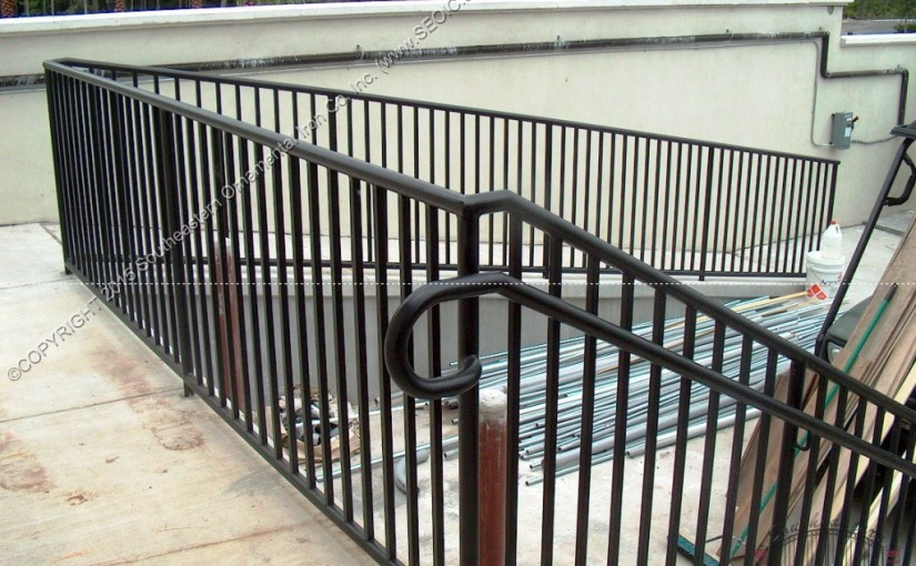 Pipe Railing (#R-24) with ADA Loops and Hand Rail