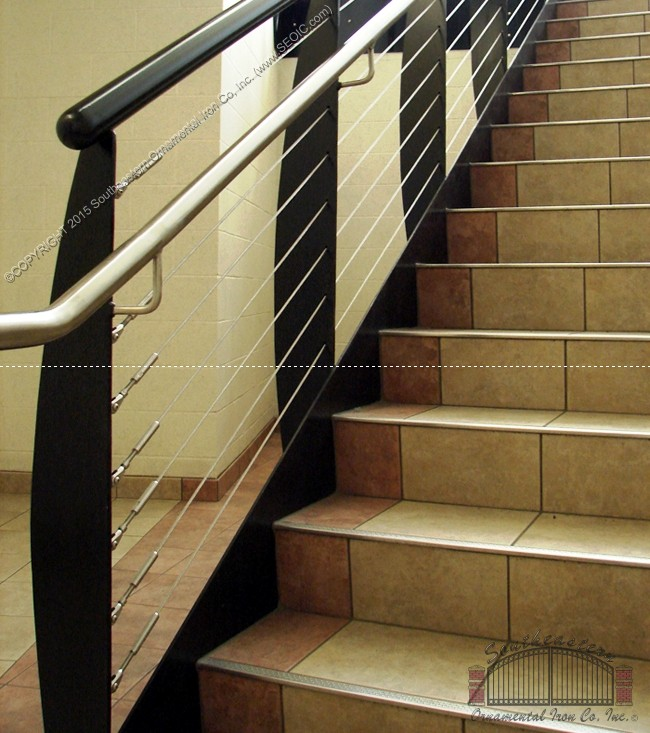 Black Stair Railing with cable railing and stainless Steel Hand Rail