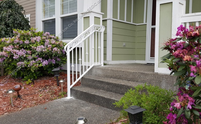 Custom Ornamental Porch Railing designed, built, and shipped to our customer in Bonney Lake, WA.