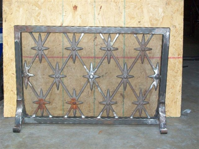 Custom Wrought Iron Fireplace Screen (FP-03)