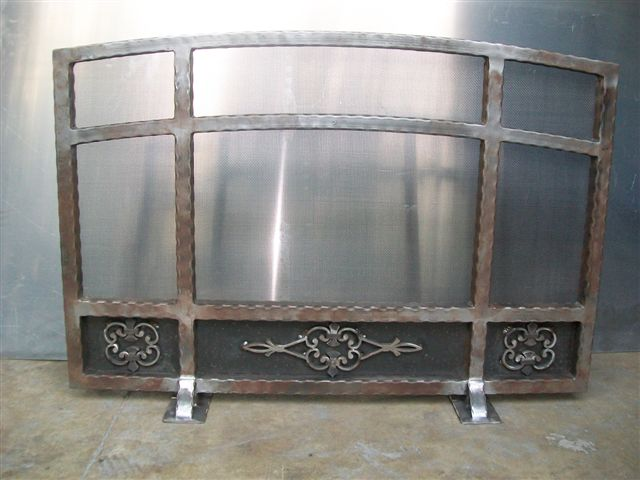 Custom Wrought Iron Fireplace Screen (FP-06)