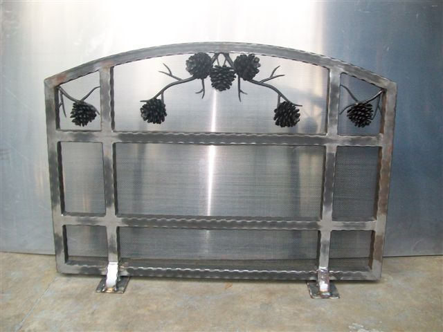 Custom Wrought Iron Fireplace Screen (FP-04)