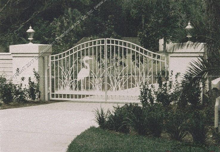 Driveway-Gate-Art-Heron-Design