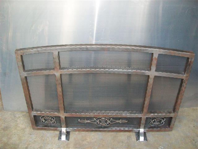 Custom Wrought Iron Fireplace Screen (FP-08)